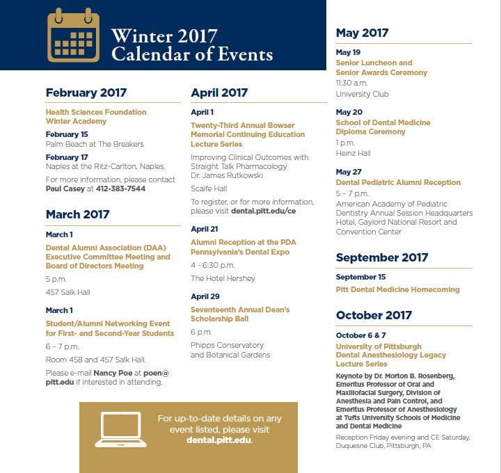2017 Alumni Events Calendar School Of Dental Medicine